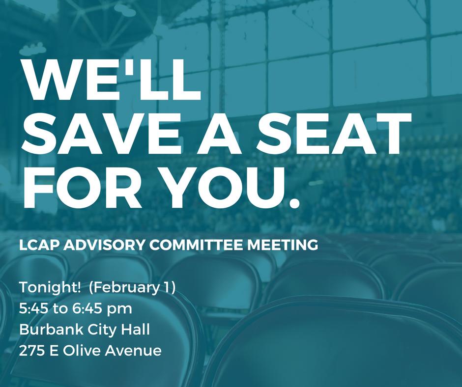 LCAP Advisory Committee Meeting TONIGHT